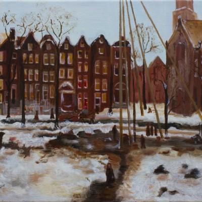 Amsterdam in de sneeuw | Olieverf op doek40x30 cm | € 200,--