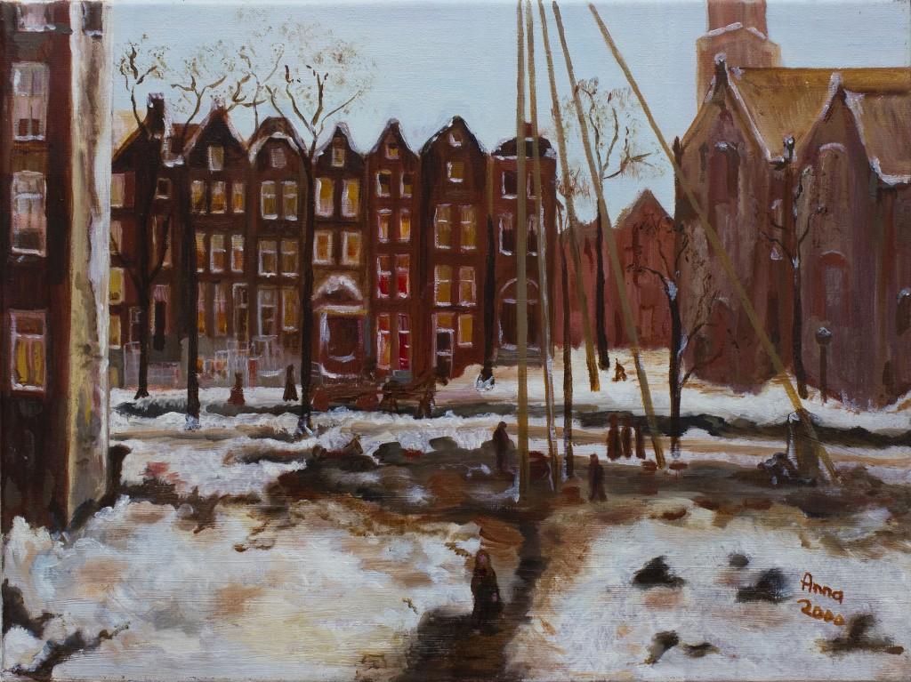 Amsterdam in de sneeuw | Olieverf op doek 30x40 cm