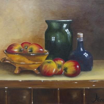 Stilleven met appels | Olieverf op doek 40x50 cm | € 300,--