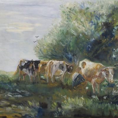 Koeien melken onder de boom | Olieverf op doek 50x60 cm | € 400,--