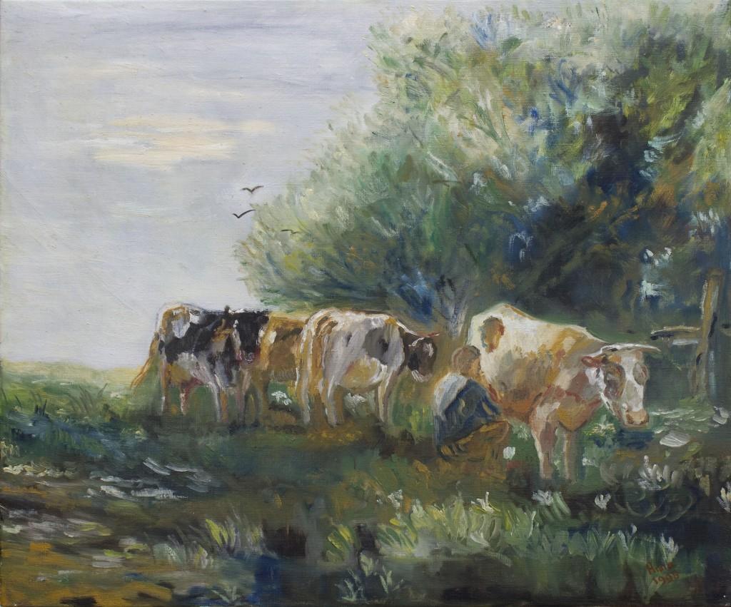 Koeien melken onder de boom | Olieverf op doek 50x60 cm