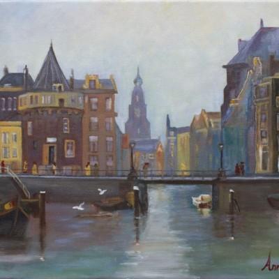 Schreierstoren in Amsterdam | Olieverf op doek 38x46 cm | € 250,--