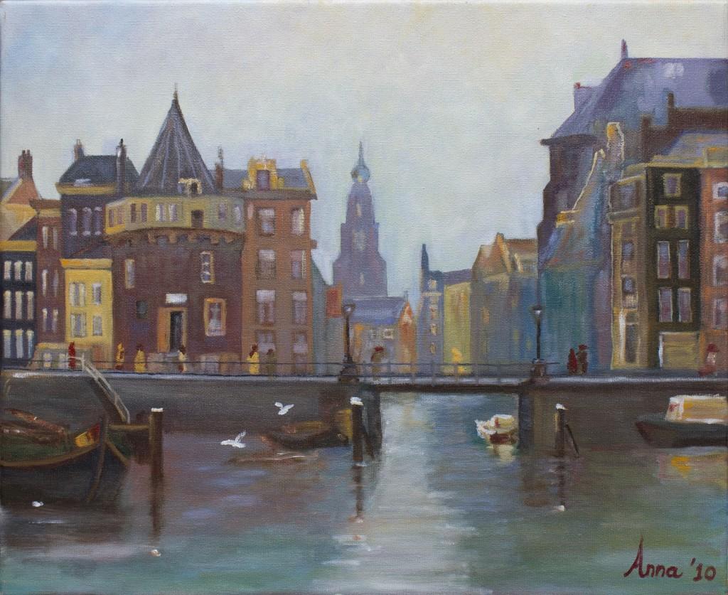 Schreierstoren in Amsterdam | Olieverf op doek 38x46 cm