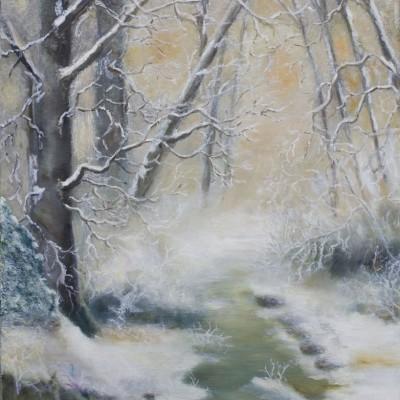 Winter in het bos | Olieverf op doek 40x50 cm |€ 300,--