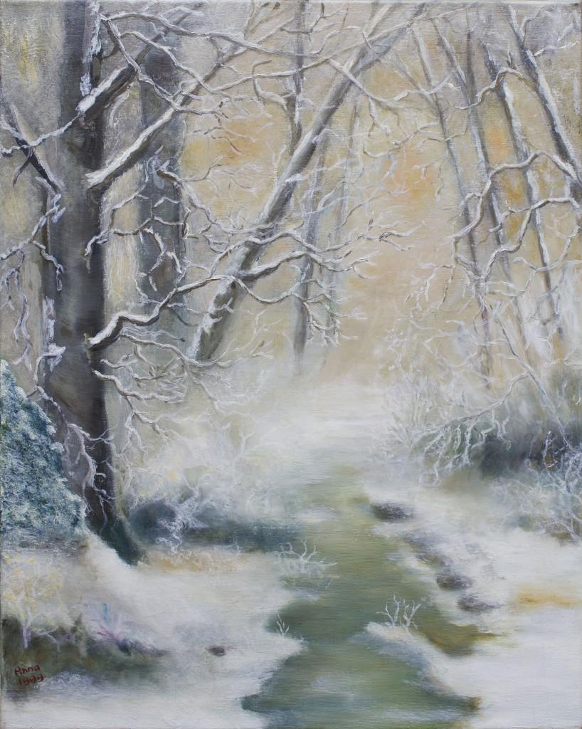 Winter in het bos | Olieverf op doek 40x50 cm