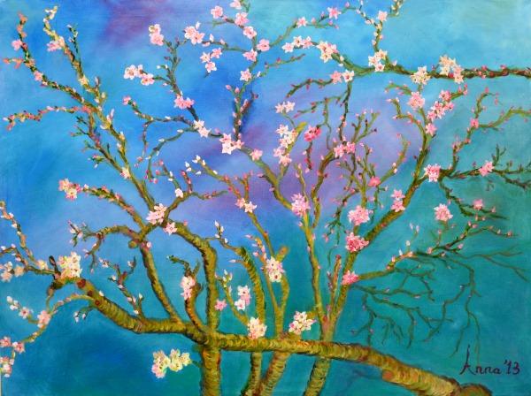 Bloesems in de lente, 2013, Olieverf op doek, 60x80cm