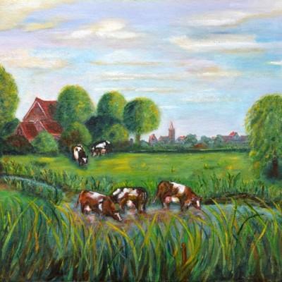 Bunschoten vanaf de Bonte Poort, 1999, Olieverf op linnen,karton, 50x40cm, € 100,--