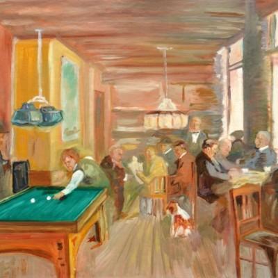 Cafeetje van Hamdorf, mijn eerste schilderij, 1990, Olieverf op linnen,karton, 60x50cm | € 250,--