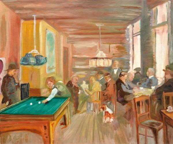 Cafeetje van Hamdorf, mijn eerste schilderij, 1990, Olieverf op linnen,karton, 50x60cm | € 250,--