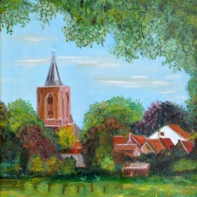 De Hervormdekerk van Bunschoten, 1995, Olieverf op doek, 30x40cm | € 250,--
