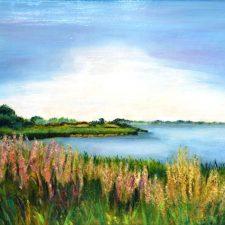 De Oostdijk in bloei, 1997, olieverf op paneel, 60x50 cm, € 200,--