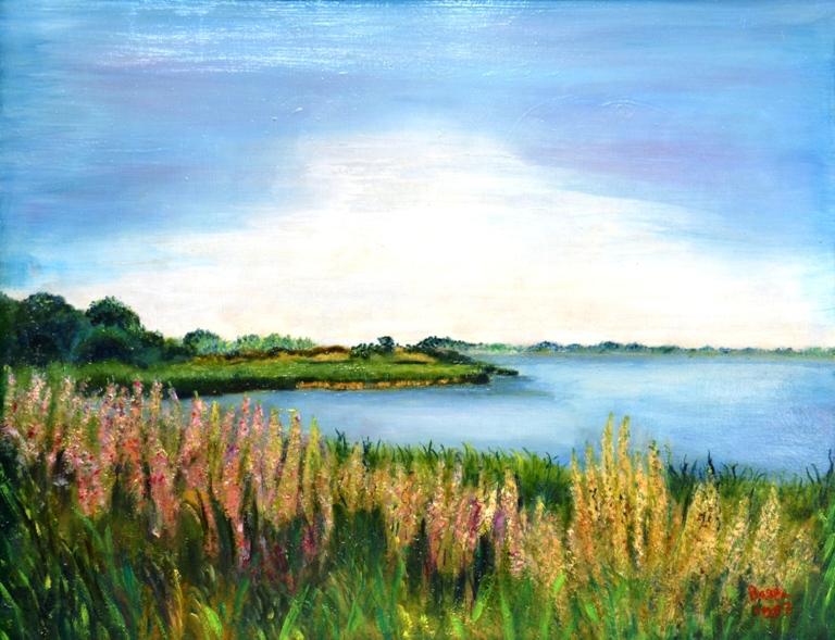 De Oostdijk in bloei, 1997, olieverf op paneel, 50x60 cm, € 200,--