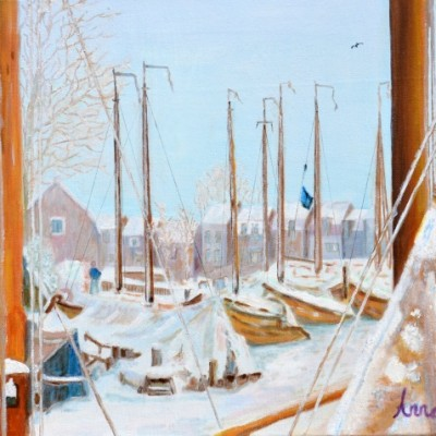 De Oude Haven van Spakenburg in de sneeuw, 2013 Olieverf op doek, 40x 50 cm | € 350,--