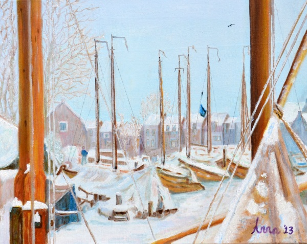 De Oude Haven van Spakenburg in de sneeuw, 2013 Olieverf op doek,  40x 50 cm.