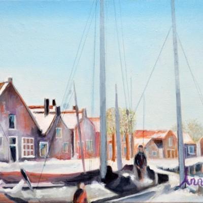 De Oude Haven van Spakenburg met zicht op de Turfwal, 2013, Olieverf op doek, 30x40 cm | € 250,--