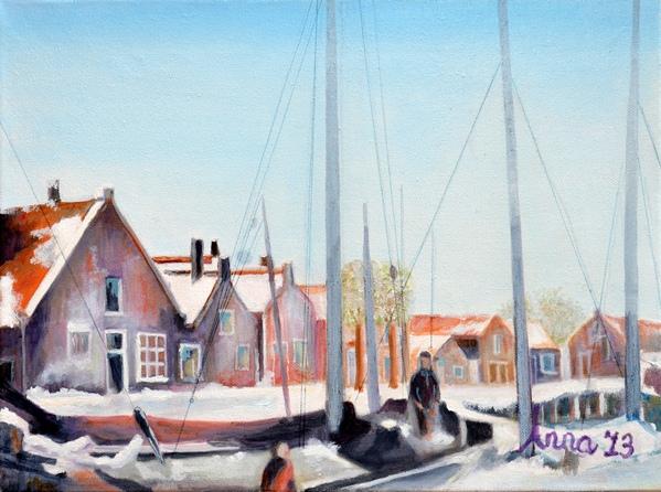 De Oude Haven van Spakenburg met zicht op de Turfwal, 2013, Olieverf op doek, 30x40