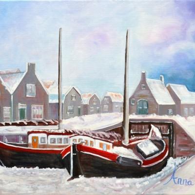 De Oude haven van Spakenburg, Kotters in de sneeuw, 2013, Olieverf op doek, 60x50 cm, € 250,--