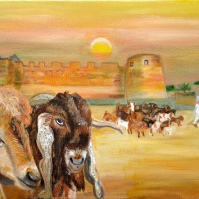 Geiten in Bahrein voor het Fort, 2001, Olieverf op doek, 40x30 cm | € 200,--