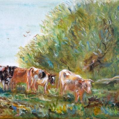 Koeien naar de stal, 2000, Olieverf op doek, 40x30cm | € 200,--