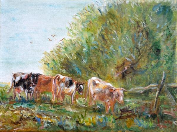 Koeien naar de stal, 2000, Olieverf op doek, 30x40cm
