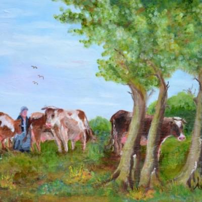 Koeien onder de bomen, 2011, Olieverf op doek, 50x40cm | € 200,--