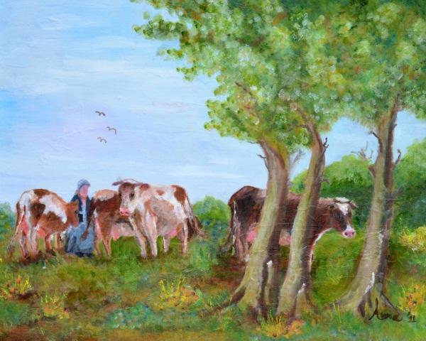 Koeien onder de bomen, 2011, Olieverf op doek, 40x50cm