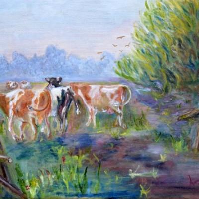 Koeien van stal, 2000, Olieverf op doek, 40x30cm € 200,--