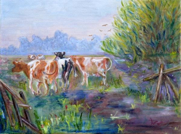 Koeien van stal, 2000, Olieverf op doek, 30x40cm