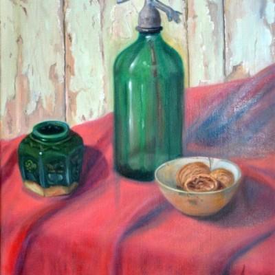 Syphon, gemberpotje en schaaltje walnoten, 2001, Olieverf op doek, 40x50cm | € 300,--