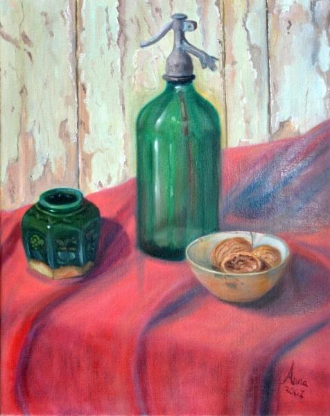 Syphon, gember potje en schaaltje walnoten, 2001, Olieverf op doek, 40x50cm