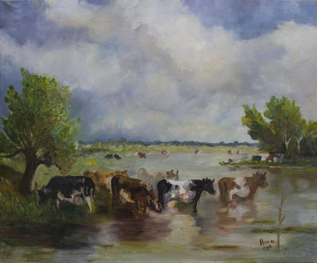 Polderlandschap met koeien | Olieverf op doek 50x60 cm