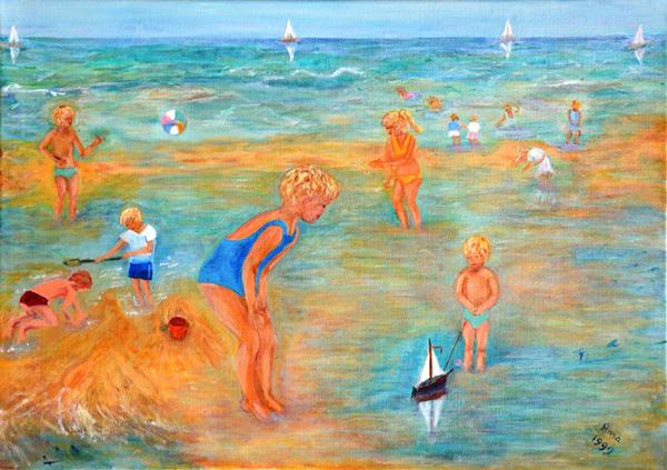 Strandtafereel | 1999 | Olievef op doek | 50×70 cm