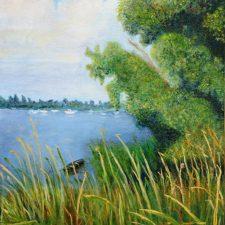 Bomen op de Oostdijk zomer | 1996 | Olieverf op doek | 50x40 cm | € 250,--