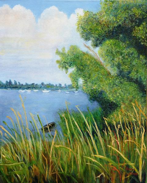 Bomen op de Oostdijk zomer | 1996 | Olieverf op doek | 40×50 cm