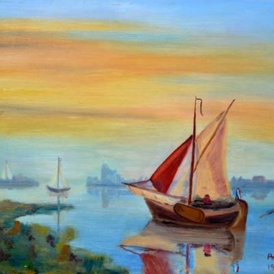 Bootjes in de rivier bij zonsondergang, 1999, Olieverf op paneel, 30x22 cm | € 200,--