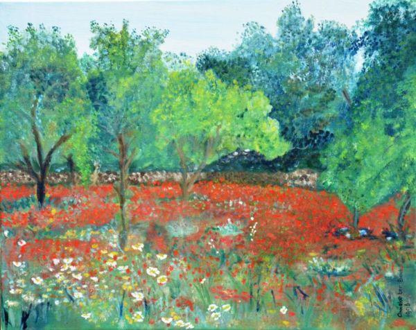 Klaprozen in de boomgaard | 1996 | Olieverf op doek | 50x40 cm