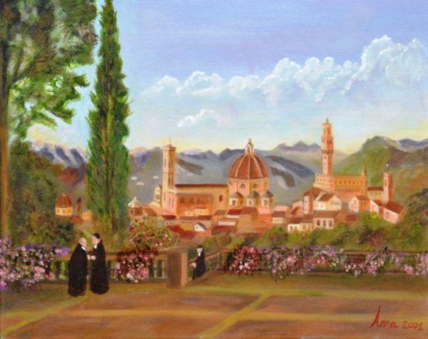 Florence vanaf de heuvel | 2001 | Olieverf op doek | 40x50 cm