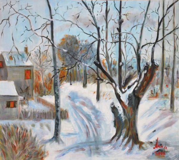 Bospad in de sneeuw | 2000 | Olieverf op paneel | 36x40 c