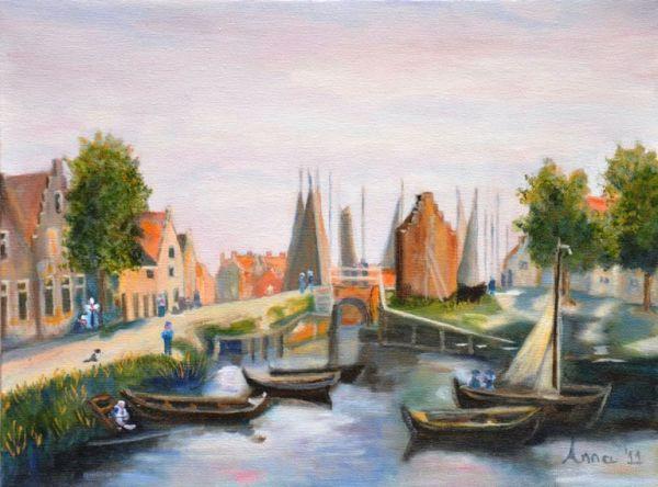 De haven van Spakenburg rond 1900 | 2011 | Olieverf op doek | 30x 40 cm | naar schilderij van Greive