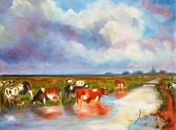 Koeien langs de wetering | 2011 | Olieverf op doek | 30x40 cm