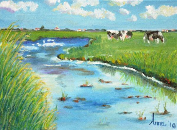 Koeien aan de Laak | 2010 | Olieverf op doek | 30x40 cm
