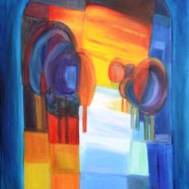 Bomen in kleur| 2011|olieverf op paneel| 50x60 cm