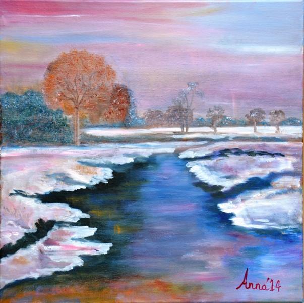 Bevroren rivier, 2014, olieverf op doek, 50x50 cm, € 200,--