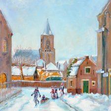 De Catharina kerk vanaf Kostverloren, 2012, olieverf op paneel, 30x40 cm, € 150,--