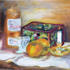 De witte mutsen trommel van Mem, 1994, olieverf op canvas board, 40x30 cm, € 100,--