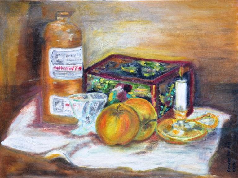 De witte mutsen trommel van Mem, 1994, olieverf op canvas board, 30x40 cm, € 100,--