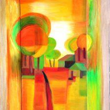Gele bomen, 2000, olieverf op paneel, 50x80 cm, € 200,--