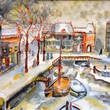 Haventje in Leiden, 1999, aquarel, 35x275 cm, € 100,--