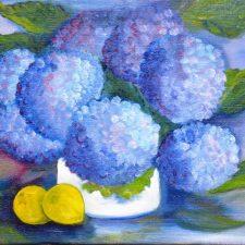 Hortensia's, 2000, olieverf op doek, 40x30 cm, € 100,--