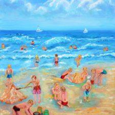 Kleinkinderen op het strand, 2010, olieverf op doek, 40x50 cm, n.t.k.